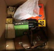 A collection of cameras to include Iso Rapid in box, Zeiss Ikon in leather case,