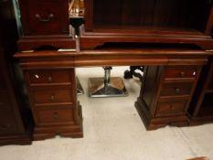 A modern mahogany pedestal sideboard, 150 cm wide x 42 cm deep x 82 cm high,