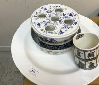 A 19th Century Copeland Italian pattern blue and white transfer decorated turkey platter with tree