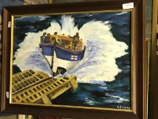 """R PROVIS """"Lifeboat Launch"""", oil on board, signed lower right, 36cm x 48cm,"""