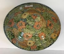A Paul Jackson fish and flower design bowl, signed and dated 1987, 31 cm diameter x 9 cm high,