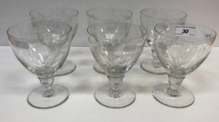 A set of six Royal Brierley barley and hop engraved rummers in the Georgian manner,
