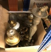 A box of various gas light fittings, brass table lamp, various glass lampshades,