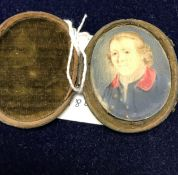 """EARLY 19TH CENTURY ENGLISH SCHOOL """"Gentleman wearing Windsor uniform of blue coat and red collar"""","""