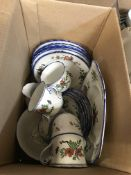 """Three boxes of assorted decorative china wares to include a Wedgwood """"Windsor Grey"""" 46 piece dinner"""