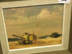 """TREVOR CHAMBERLAIN (b1933) """"Harvesting at Brainfield"""", oil on board,"""
