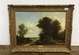 """C GREENWOOD """"Rural scene with figures resting on a roadway in foreground,"""