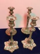 A collection of various plated wares, to include two pairs of candlesticks, 26cm H each approx,