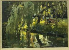 """TREVOR CHAMBERLAIN (b1933) """"Under the Willow, Castle Grounds Hertford"""", oil on board,"""