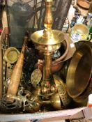 A box of various brass, copper, iron and other metal wares including modern Indian temple oil lamps,