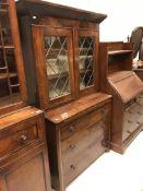 A 19th Century figured mahogany secretaire bookcase,