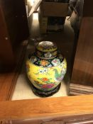 A collection of items to include a modern famille-jaune style Japanese ginger jar,