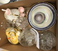 A box of various china and glassware to include Carlton ware mauve lustre fruit bowl,