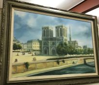 """M F LEYS """"Notre Dame"""", oil on canvas, signed lower left, approx 61 cm x 92 cm,"""