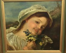 """19TH CENTURY ENGLISH SCHOOL """"Young Girl in Bonnet with Posy of Wild Flowers"""","""