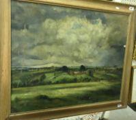 "JOHN OSBORN ""Cotswold village scene"", oil on canvas, signed lower right, approx 76.5 cm x 91."