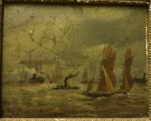 """E FLETCHER (poss Edward Henry Eugene 1857-1945) """"Steam and sailing vessels various in harbour"""