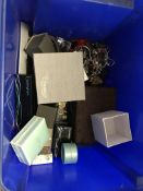 Two plastic crates of various costume jewellery, including Buckingham, Alan Hannah,