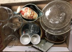 Five boxes of assorted decorative china and glass wares to include two modern Valelove table lamps,