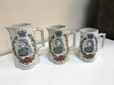 """A graduated set of three Victorian Jubilee pattern commemorative jugs """"For the sake of the fifty"""