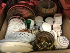 """Four boxes of assorted china wares to include Doulton Everyday """"Glenora"""" part dinner service,"""