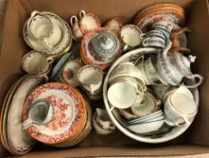 A collection of various china wares to include English chinoiserie decorated oxide red ground
