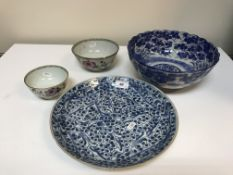 A collection of Oriental china wares comprising Chinese 19th Century blue and white stylised floral