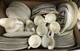 """A box of china wares to include Royal Doulton """"Caprice"""" dinner wares,"""