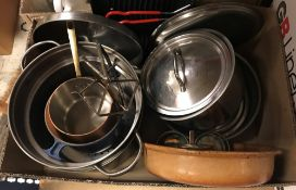Two boxes of assorted kitchenalia to include saucepans, utensils, etc,