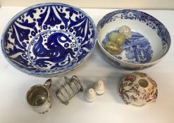 Two boxes of assorted decorative china wares and glassware to include vases,