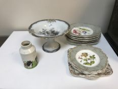 A collection of ceramics to include a 19th Century hand painted dessert set comprising six
