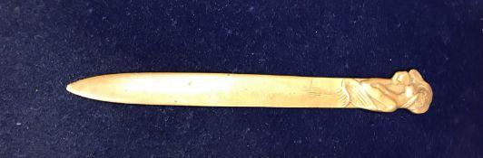 An Art Nouveau style brass paperknife, t