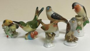 A collection of six various Herend bird