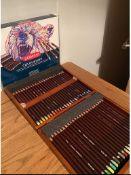 A fantastic set of 48 Derwent Coloursoft pencils in a wooden presentation case.