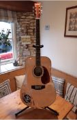 Autographed guitar. As new Harley Benton Acoustic Guitar.