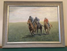 """""""The Gallops"""" Race horses training on Lambourne Downs. 50 x 38 cms."""