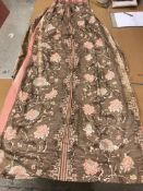 Two pairs of glazed cotton pink and brown interlined curtains with chinoiserie style decoration,