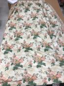 Two pairs of glazed cotton floral decorated cream, pink and green interlined curtains,