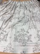 Two pairs of linen type grey ground foliate decorated interlined curtains,