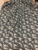 """A pair of cotton blue ground interlined curtains with """"Flying Geese"""" decoration,"""