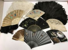 A collection of Victorian and later fans to include ostrich feather fans, bone and paper fans,