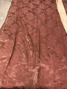 Two pairs of satin type dusky pink damask style lined curtains with pencil pleat fixed headings,