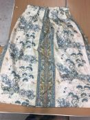 """Two pairs of cotton lined Arthur Sanderson """"Tournier"""" curtains on a duck egg blue ground,"""