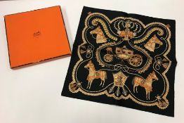 """An Hermes """"Paperoles"""" silk handkerchief designed by Claudia Stuhlhofer-Mayer, boxed,"""