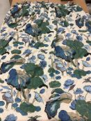 """Two pairs of cotton cream ground """"Heron and Lily"""" decorated interlined curtains,"""