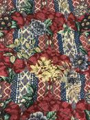 """A pair of cotton mix Pallu & Lake """"Lamberhurst"""" red and multi-coloured interlined curtains,"""