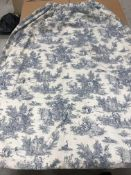 One pair of cotton mix cream ground blue toile de jouy interlined curtains,
