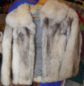 A Maxwell Croft of London and Bath white fox fur jacket with satin lining,