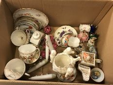 A collection of various mainly Continental china wares including Copenhagen Quimper style plate,