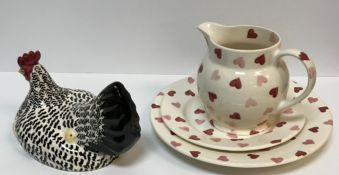 """An Emma Bridgwater """"Pink Hearts"""" pattern jug, plate and smaller plate, together with a """"Black and"""